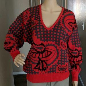 MONDI V Neck Knit SWEATER Grid / Square Print